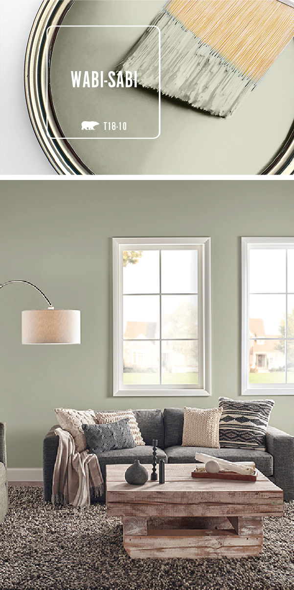 Transform Your Home With The Light Green Hue Of Wabi Sabi By Behr Paint Use Natural Wood And Dark Gray Accents To Create An Earthy Color Palette That S