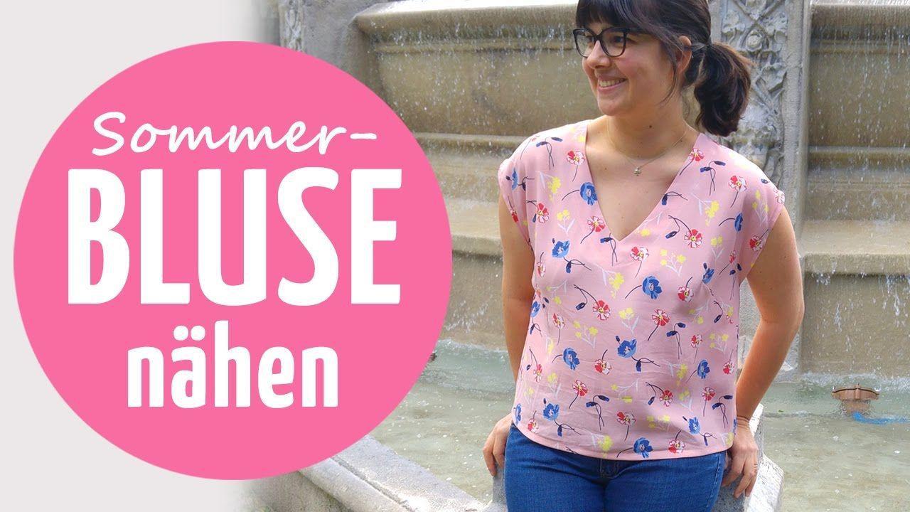 Leichte Sommer-Bluse nähen // mit Kimono-Ärmel | Sewing - Videos ...