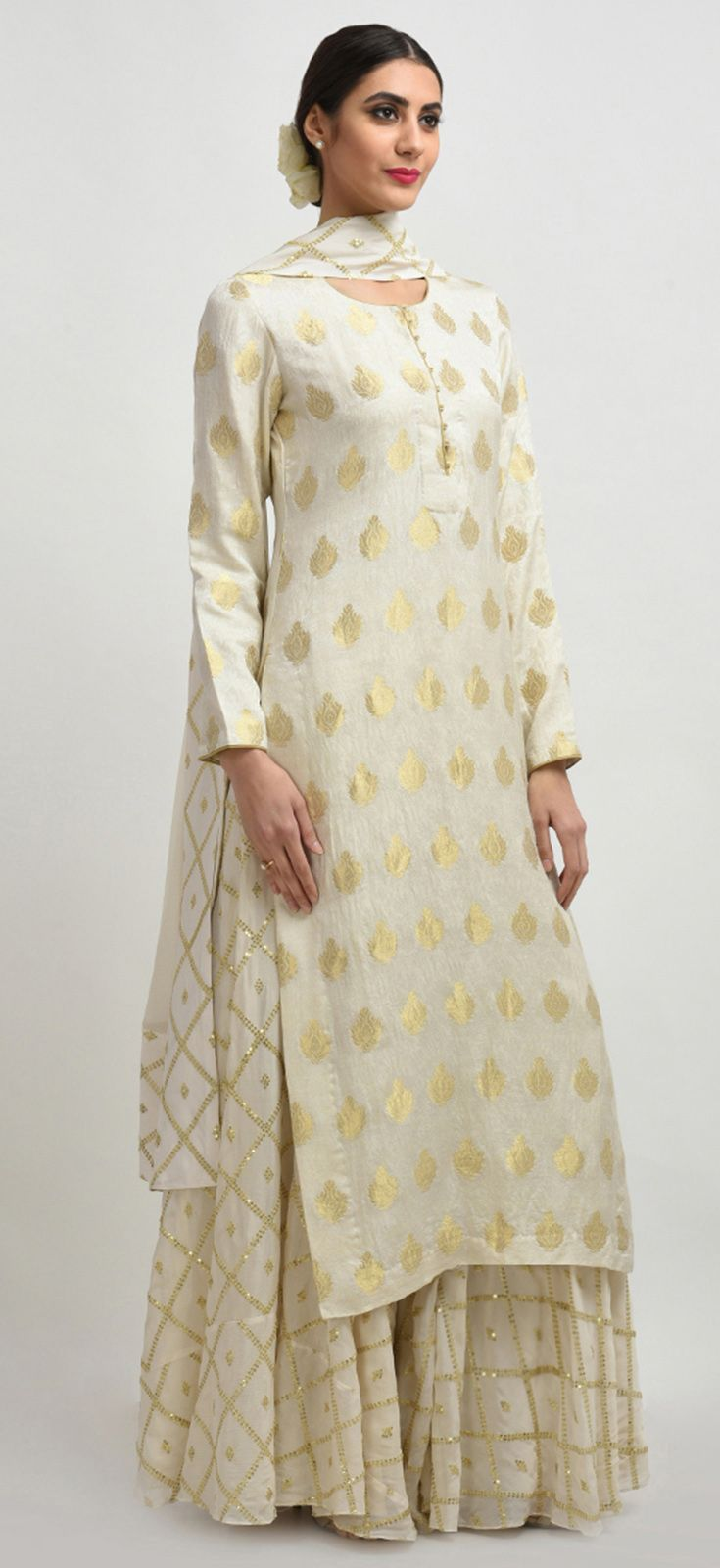 Ivory Banarasi Handwoven Zari And Sequin Embroidered Sharara Suit #shararadesigns