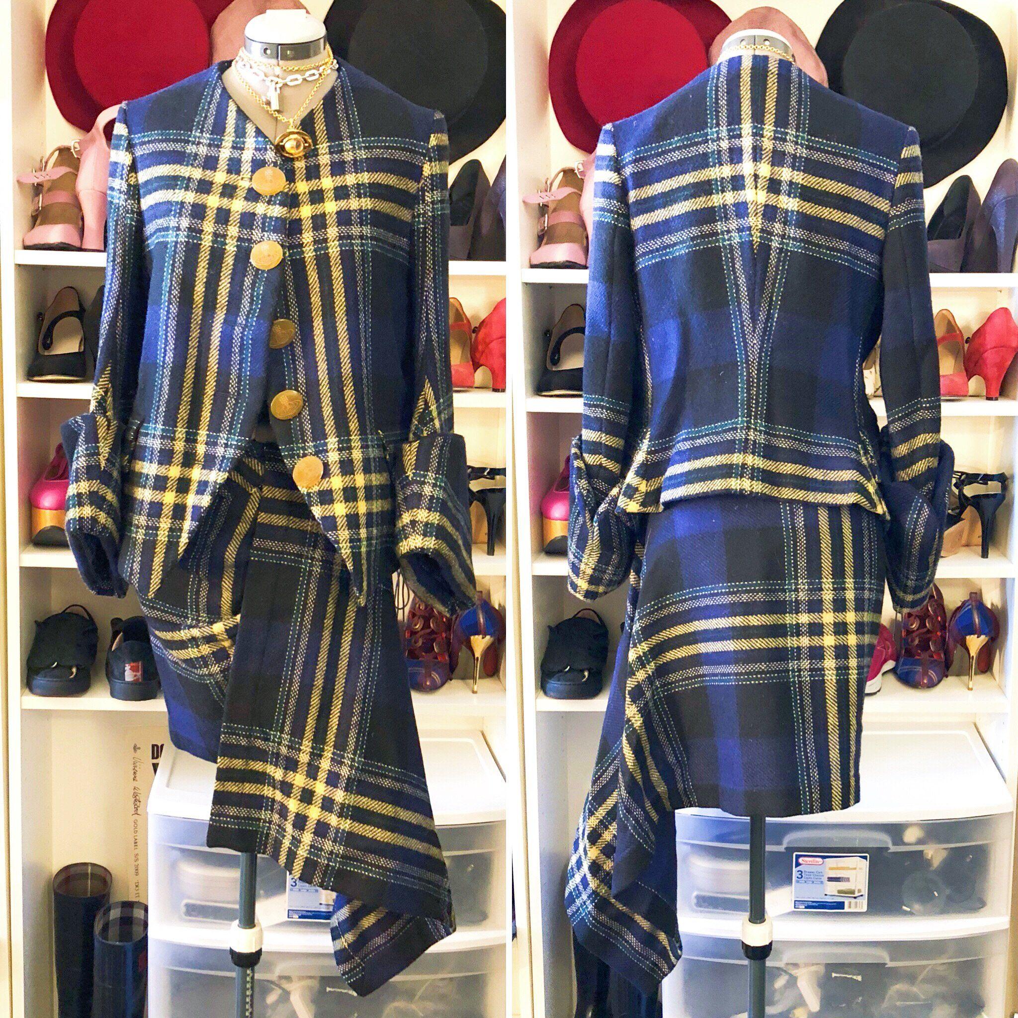 Vivienne Westwood Vintage Blue Metropolitan Tartan Suit – Vinterhouse  Vintage b49728e5f4c6