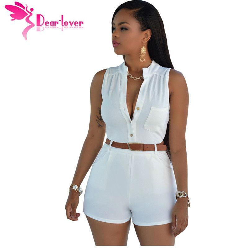 55d3bdbeb7a37 DearLover Playsuit white jumpsuit for women fashion monos shorts de mujer  2016 Button Front Belted Romper