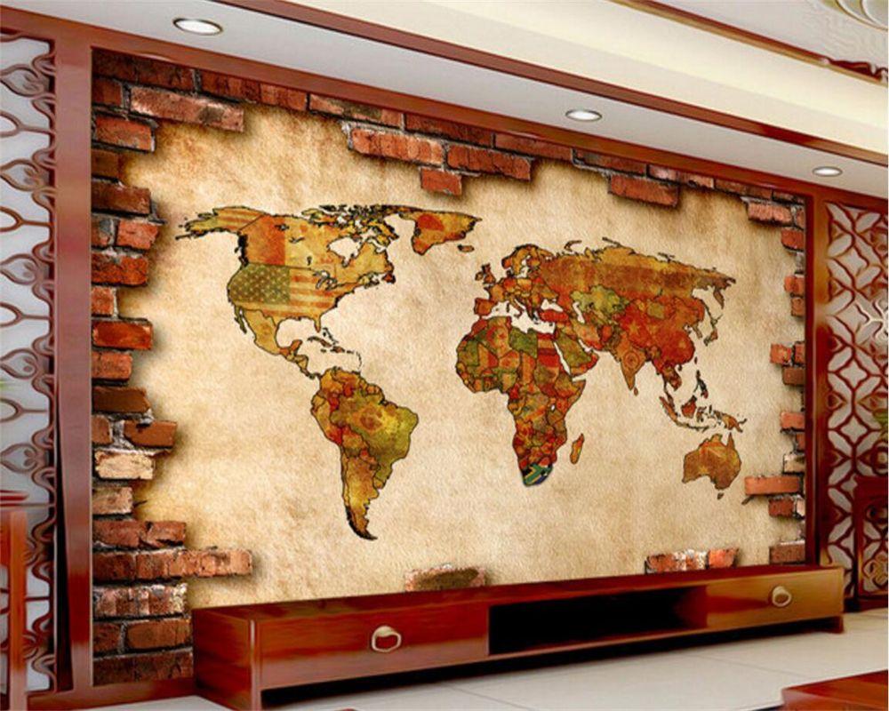 Beibehang Custom wallpaper 3D stereo retro world map modern abstract ...