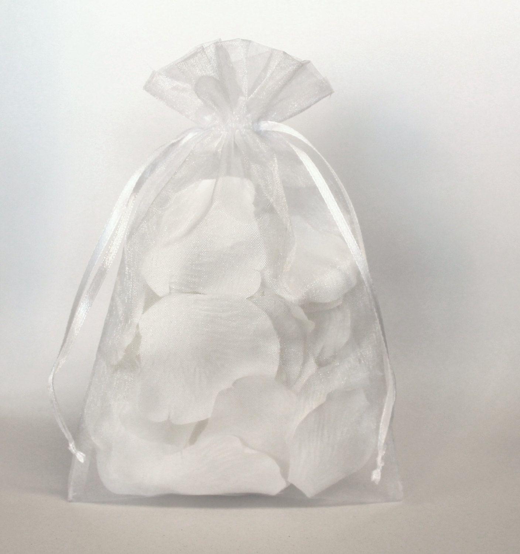 100 White Organza Bags, Sheer Favor Bags, Organza Jewelry Bags ...