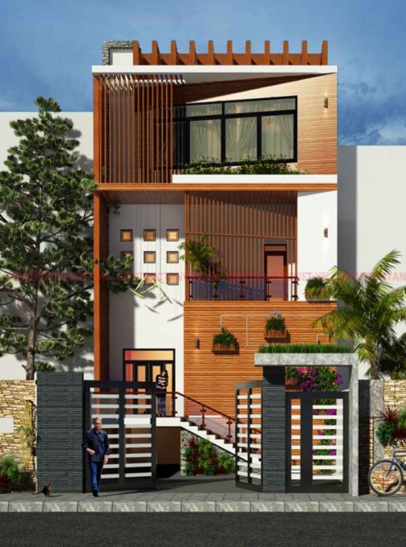 Small House Elevation Design Small House Design Exterior Narrow: House Front Design, Modern House Exterior, Small House Design