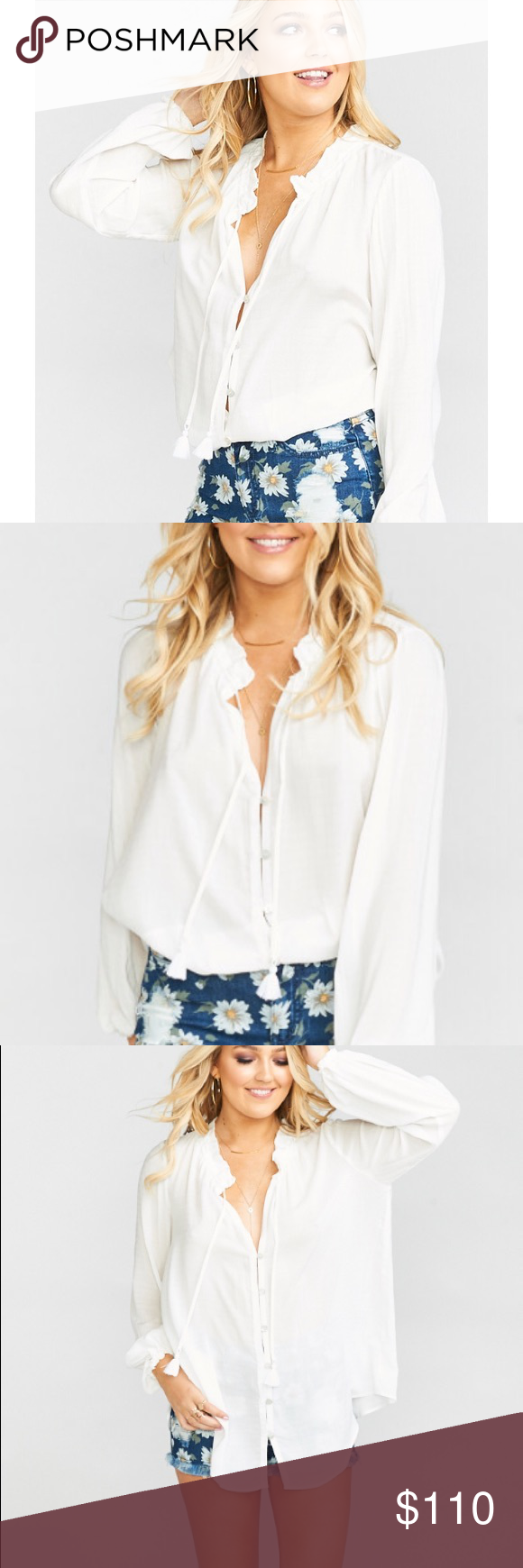 73f3f270fa8 Show Me Your MuMu Alicia Tunic Challis White NWT MADE IN THE GORGE USA*  *100% Rayon *Unlined *Neck tie optional *Semi-sheer *Button up *Scrunched  at the ...