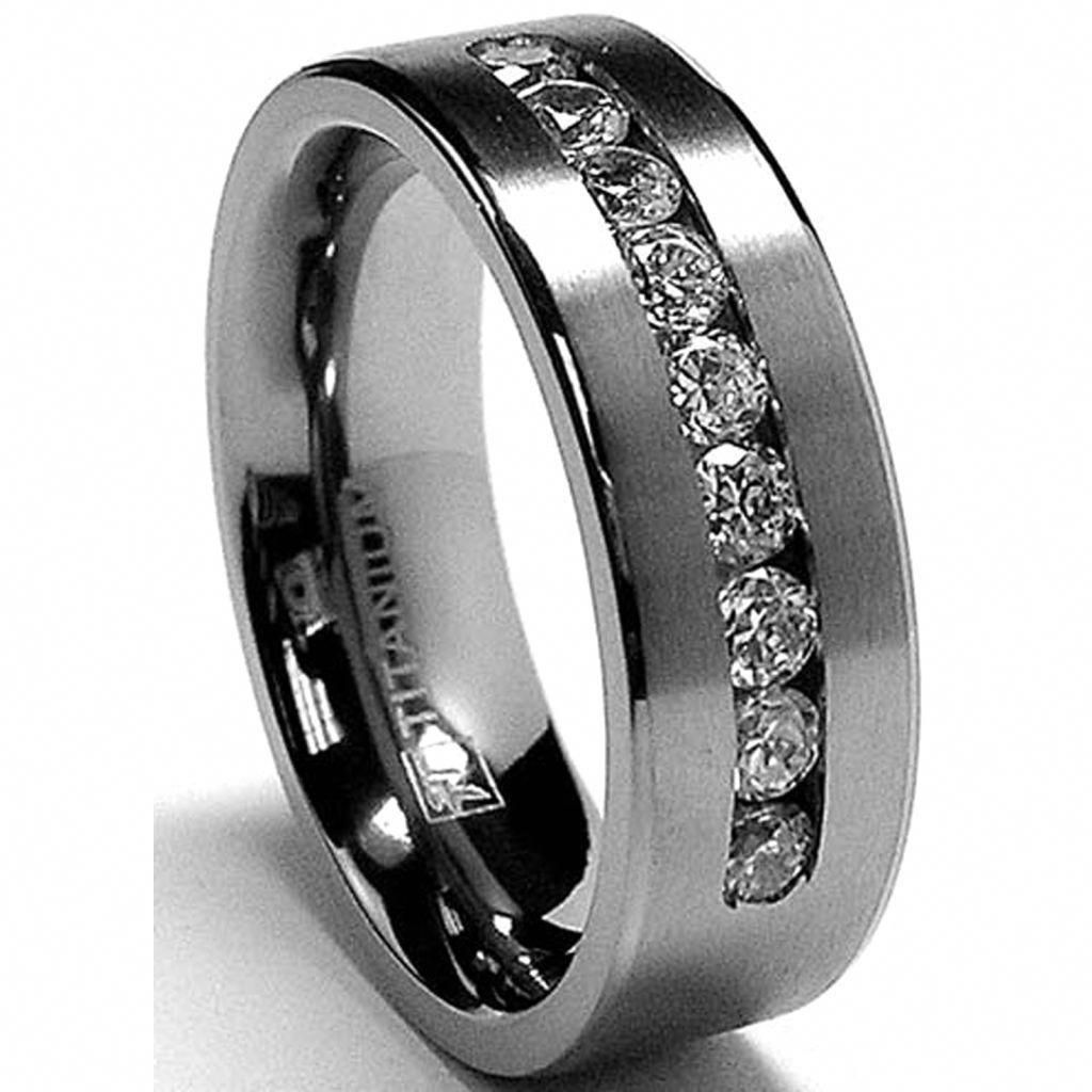 Mens Classic Wedding Band Ring Stainless Steel Eternity Ring Pink CZ size 5 to13