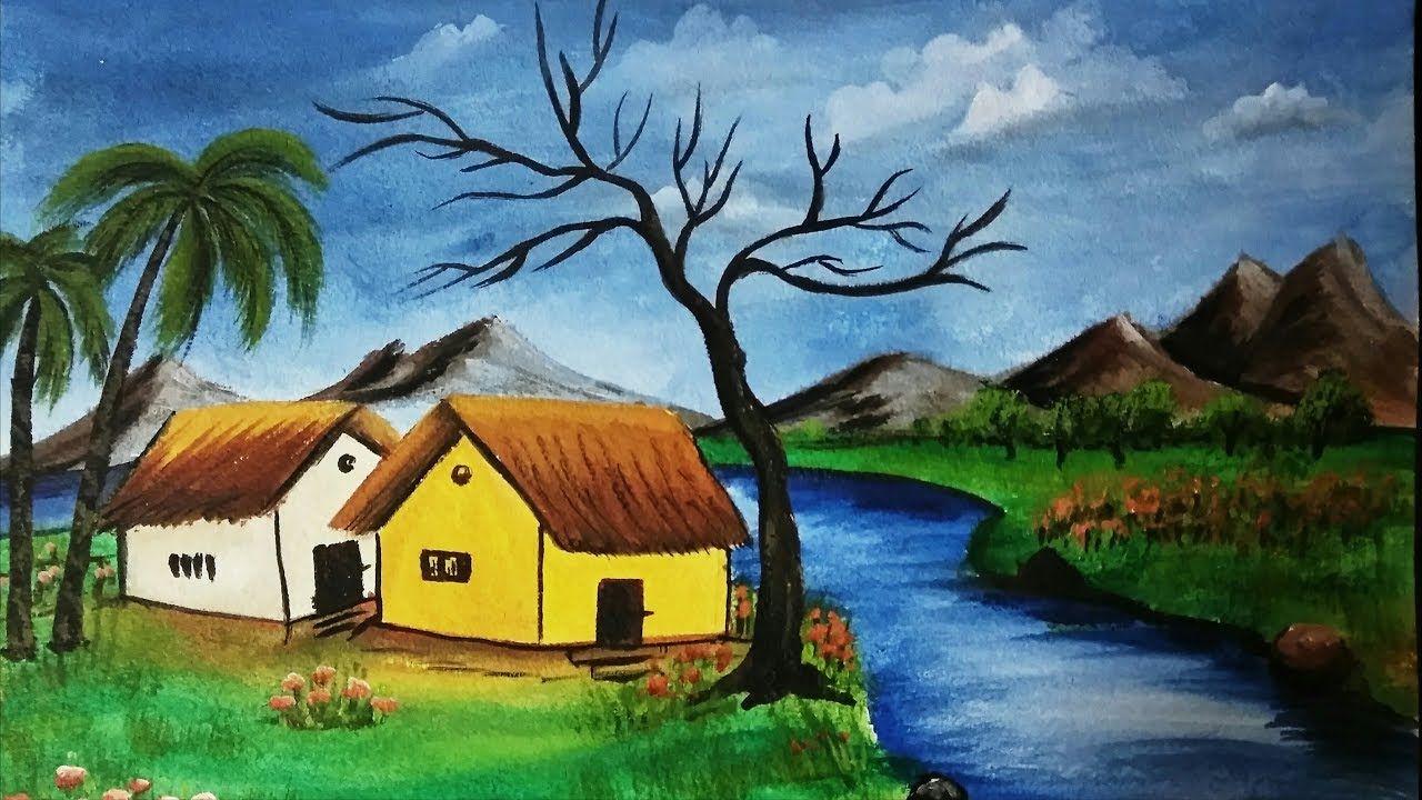 Acrylic Riverfront Landscape Painting Nature Scenery Painting Scenery Paintings Landscape Paintings Nature Paintings