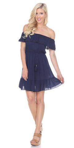 Ruffled Off-Shoulder Short Party Dress Navy Blue #navyblueshortdress Navy Blue Lace Embellished Neckline Long Formal Dress #navyblueshortdress