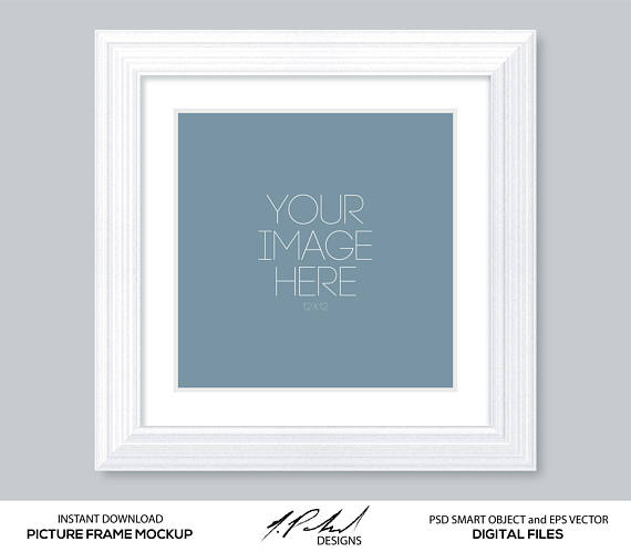 White 12x12 Matted Square Picture Frame Mockup Psd Smart Object And Eps Vector Files Digital Files Nothing Will Be Frame Mockups White Picture Frames Frame