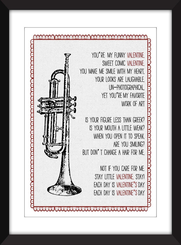 Chet Baker My Funny Valentine Lyrics, Chet Baker Print, Jazz Print, Gift For