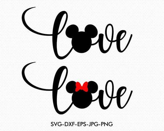 Download Mickey Minnie Love Wording Disney Love valentines Svg ...