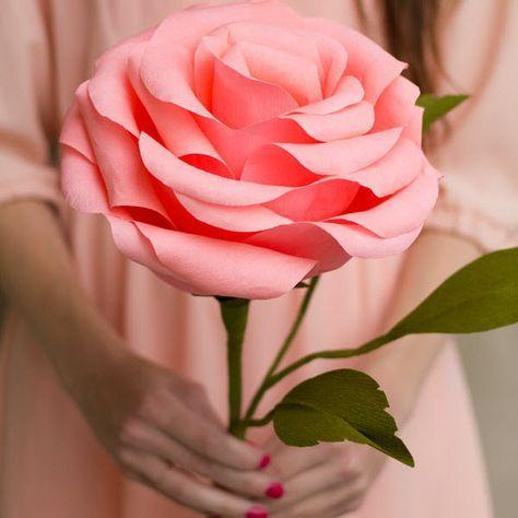 Comment faire une rose en papier crépon | Rose en papier crepon, Comment fabriquer des fleurs en ...