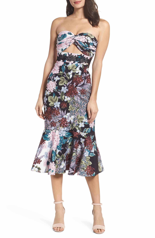 f4e19495638b03 Main Image - Keepsake the Label Floral Strapless Midi Dress ...