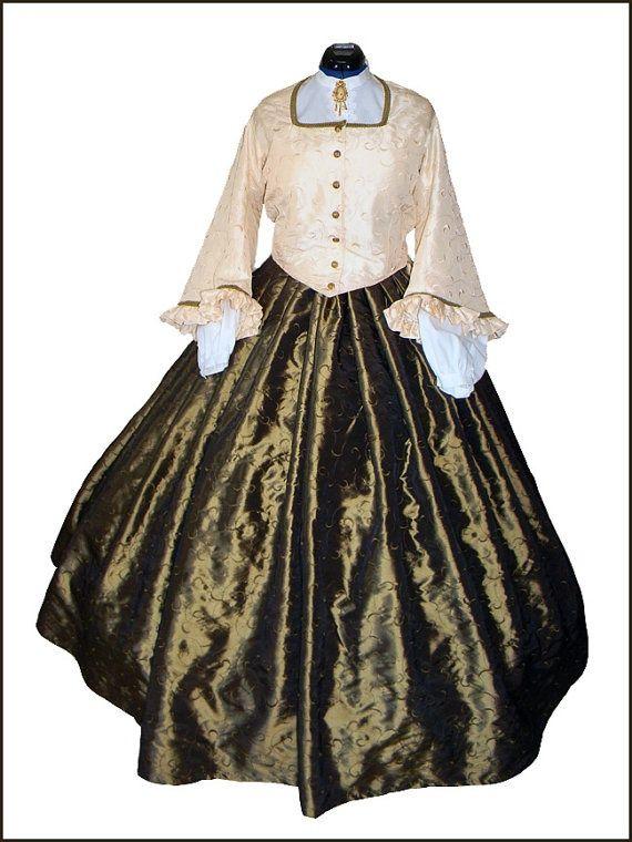 civil+war+gown   1800's Civil War Victorian Day Dress Tea Gown by CivilWarBoutique, $ ...