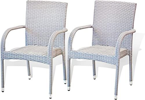 Buy SunBear Furniture Set 2 Patio Outdoor Armchair Garden Wicker Modern Design Backyard, Gray online - Lookpoppretty
