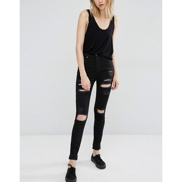 Dr Denim Zoe Sky High Waist Skinny Jeans with Rips ($77) ❤ liked on Polyvore featuring jeans, black, high waisted ripped jeans, distressed jeans, super high-waisted skinny jeans, high rise skinny jeans and high-waisted jeans