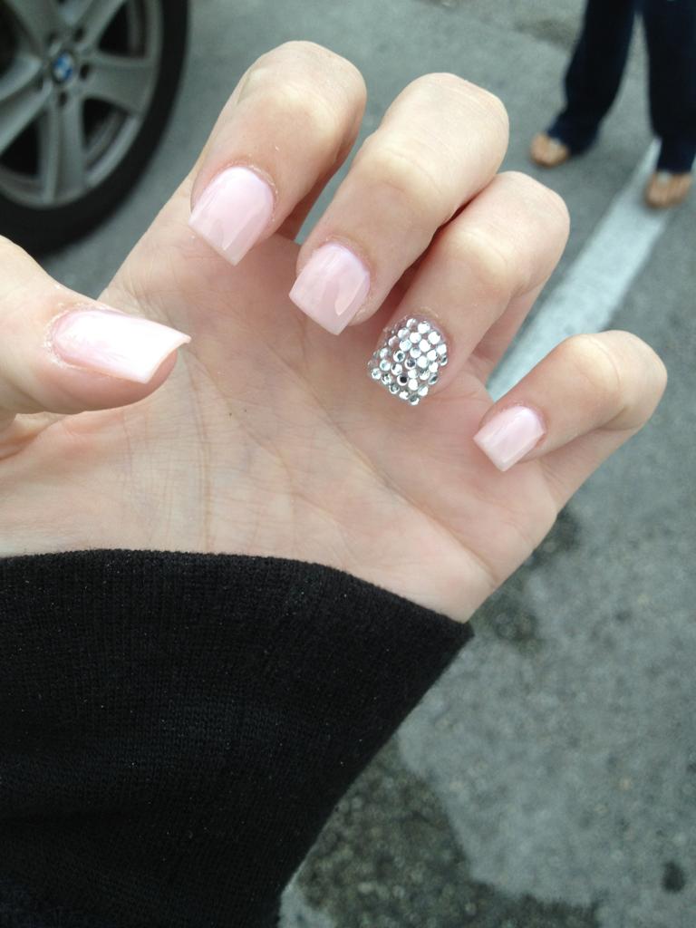 Simple blush pink nails with swarovski accent nail shellacacrylic