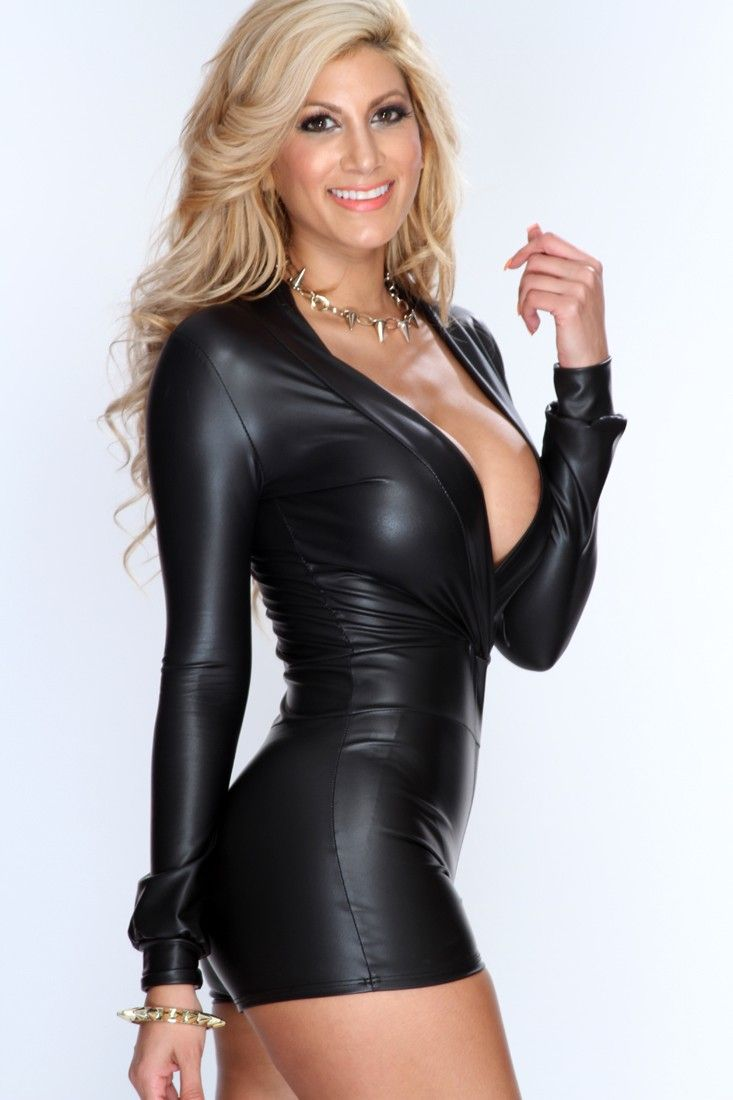 0907376301d Black Faux Leather Plunge Neckline Long Sleeves Sexy Romper ...