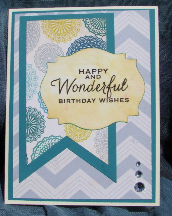 Handmade Stamped Birthday Card Silver And Teal Floral Chevron