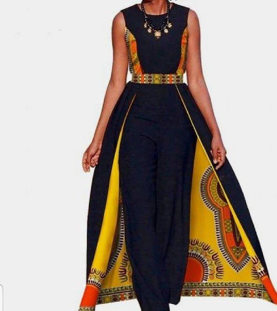Photo of African women dashiki jumpsuit / African print romper / ankara jumpsuit / African clothing for women  / African dresses / Ankara  romper