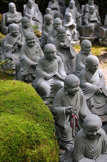 Miyajima 3 by dan  emily, via Flickr - little buddha statues at Miyajima, Japan.
