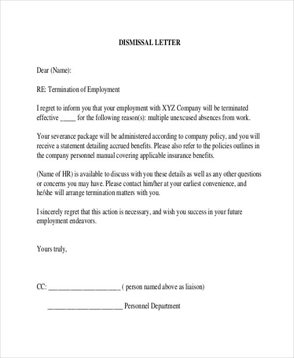 sample employee termination letter examples word pdf template - employee termination letter