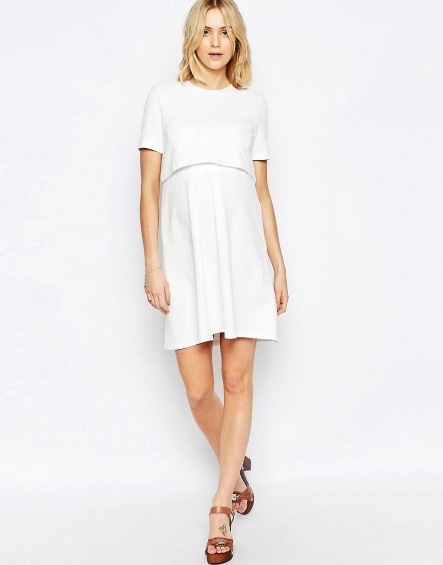 8e8488b209f39 ASOS Maternity | ASOS Maternity NURSING Textured Skater Dress With Double  Layer at ASOS