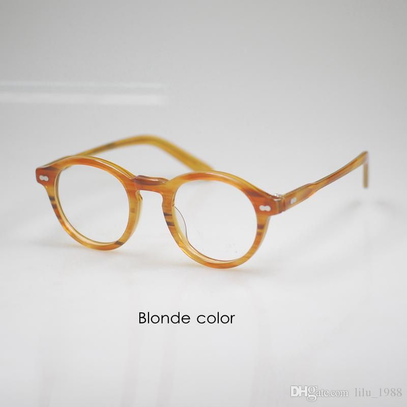 e462ff057b8 Vintage Johnny Depp Round Eyeglasses Frames Mens Johnny Depp RX Eyewear  Women Blonde Crystal Optical Glasses Frame High Quality