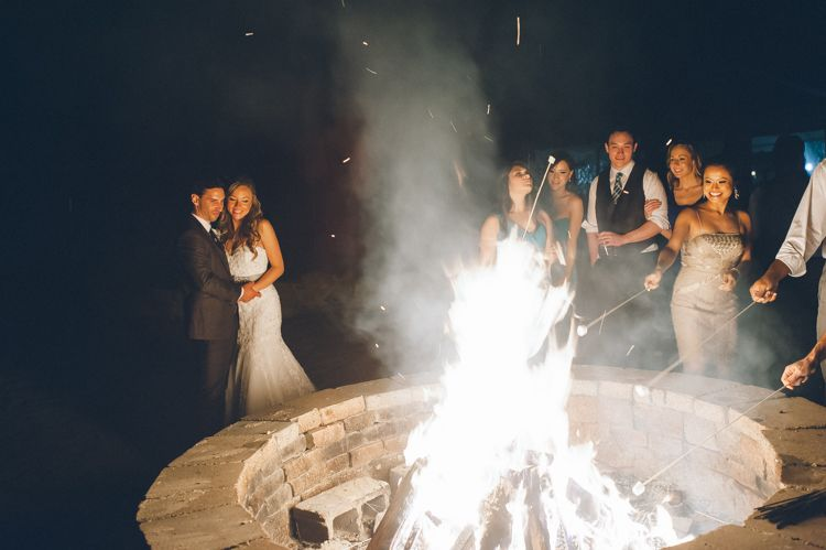 Fire pit and smores for a wedding reception at the Lake Valhalla Club in Montville, NJ. Captured by NJ wedding photographer Ben Lau.