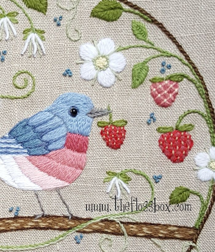 The Floss Box Strawberry Thief Crewel Embroidery Embroidery
