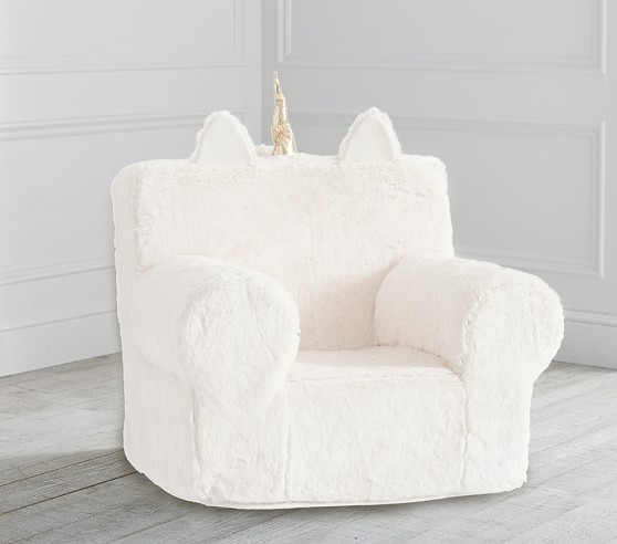 Ivory Unicorn Faux Fur Anywhere Chair 174 In 2020 Kids