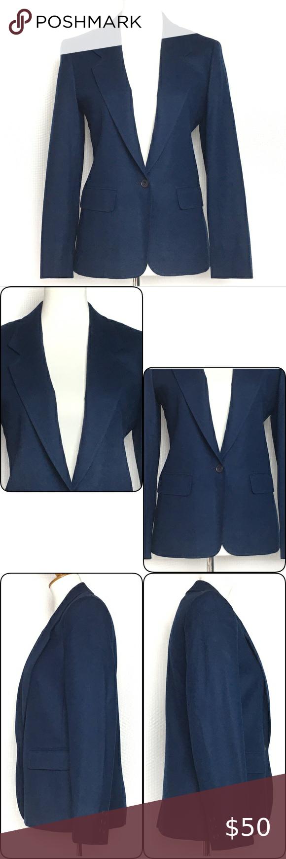 Side Pockets Single Button Closure. No Collar Style 1980/'s Blazer Pendleton WOOL Petite Size 8