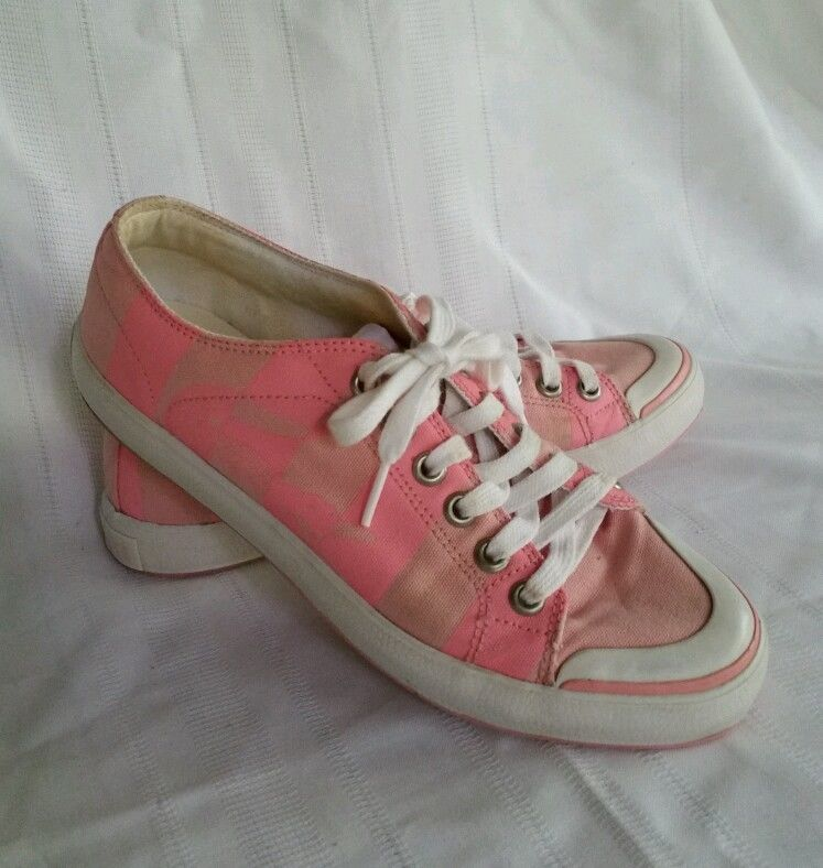 LACOSTE WOMENS 7.5 SHOES PINK STRIPE CROC CANVAS TENNIS SHOES SIDE LOGO #Lacoste #FashionSneakers