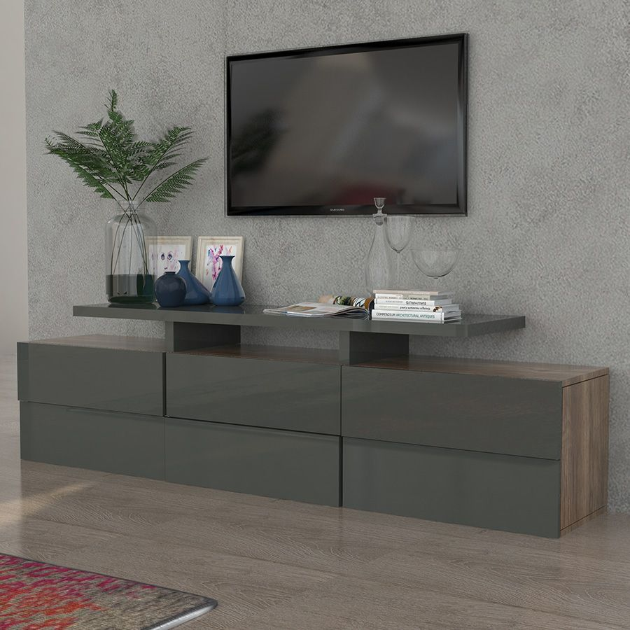 meuble tv gris laqu et couleur bois novelo meuble tv. Black Bedroom Furniture Sets. Home Design Ideas