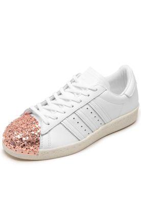 Tênis Couro adidas Originals Superstar 80S Mt Branco Rosê 8c7388f37abeb