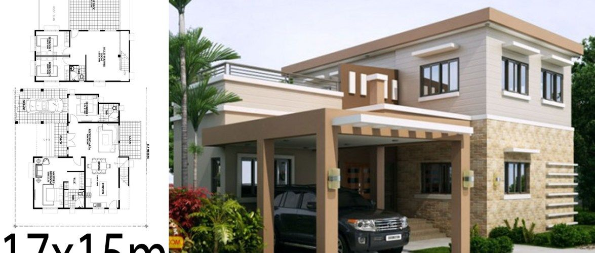 Home Design 17x15m With 4 Bedrooms In 2020 Home Design Plan House Design Home Building Design