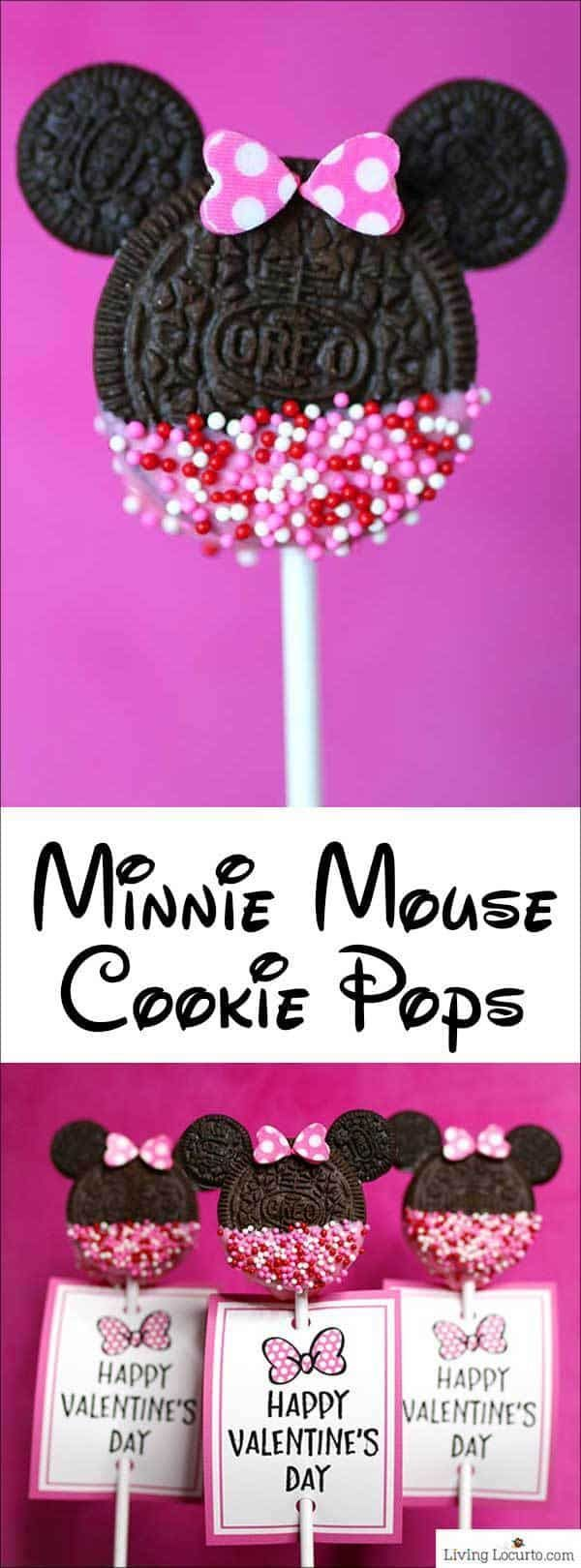 Minnie Mouse Cookie Pops - No Bake Disney Cookies - Living Locurto