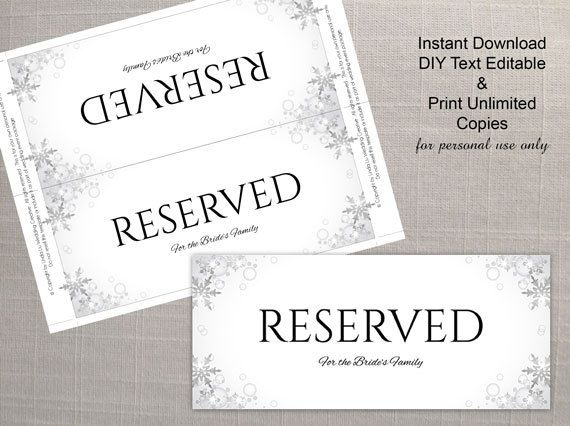 DIY Printable Wedding Reserved Sign Microsoft Word Template - Winter