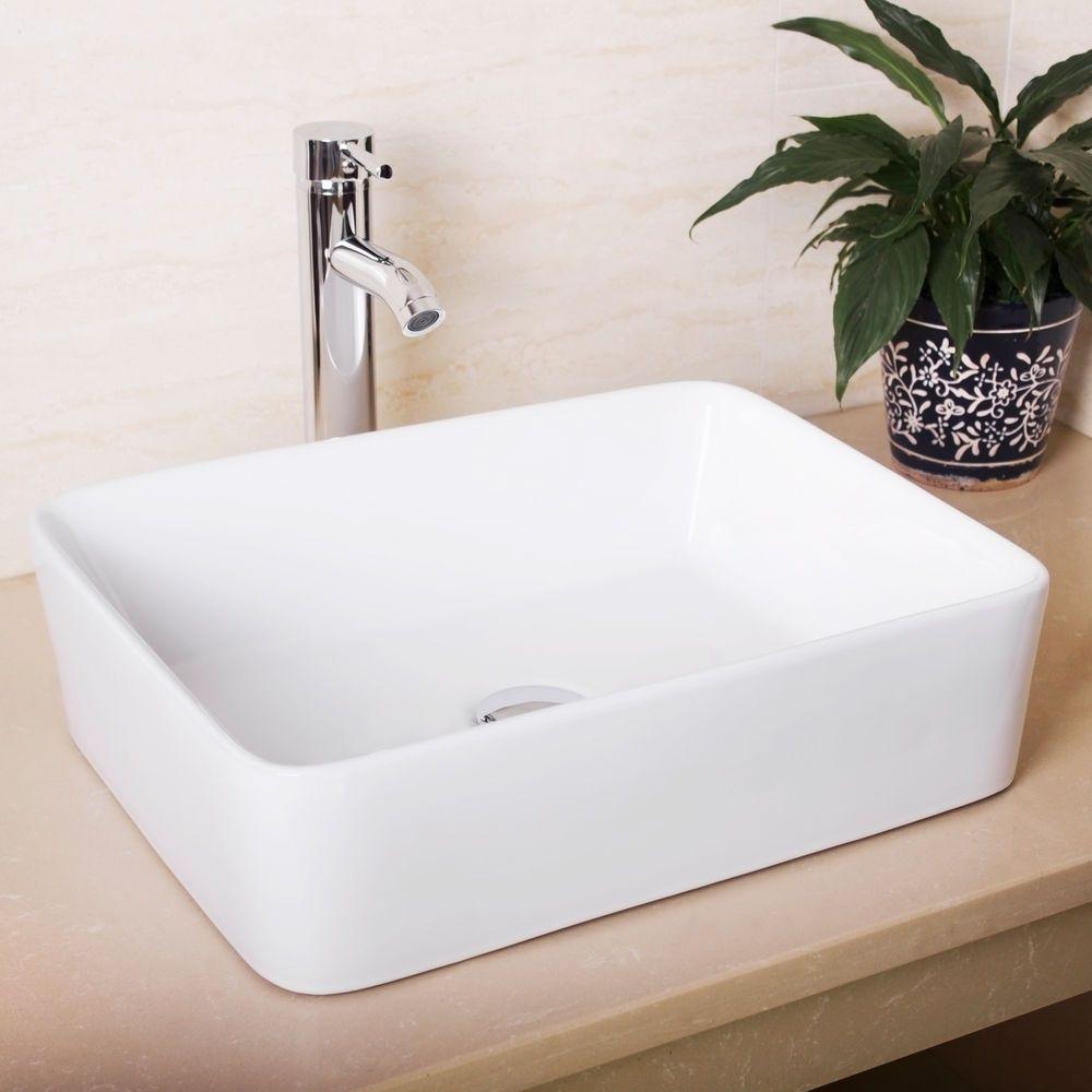 Details About Us Bathroom Rectangle Ceramic Vessel Sink Chrome