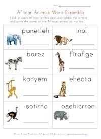 africa animals worksheet word scramble african animals worksheets animal worksheets. Black Bedroom Furniture Sets. Home Design Ideas