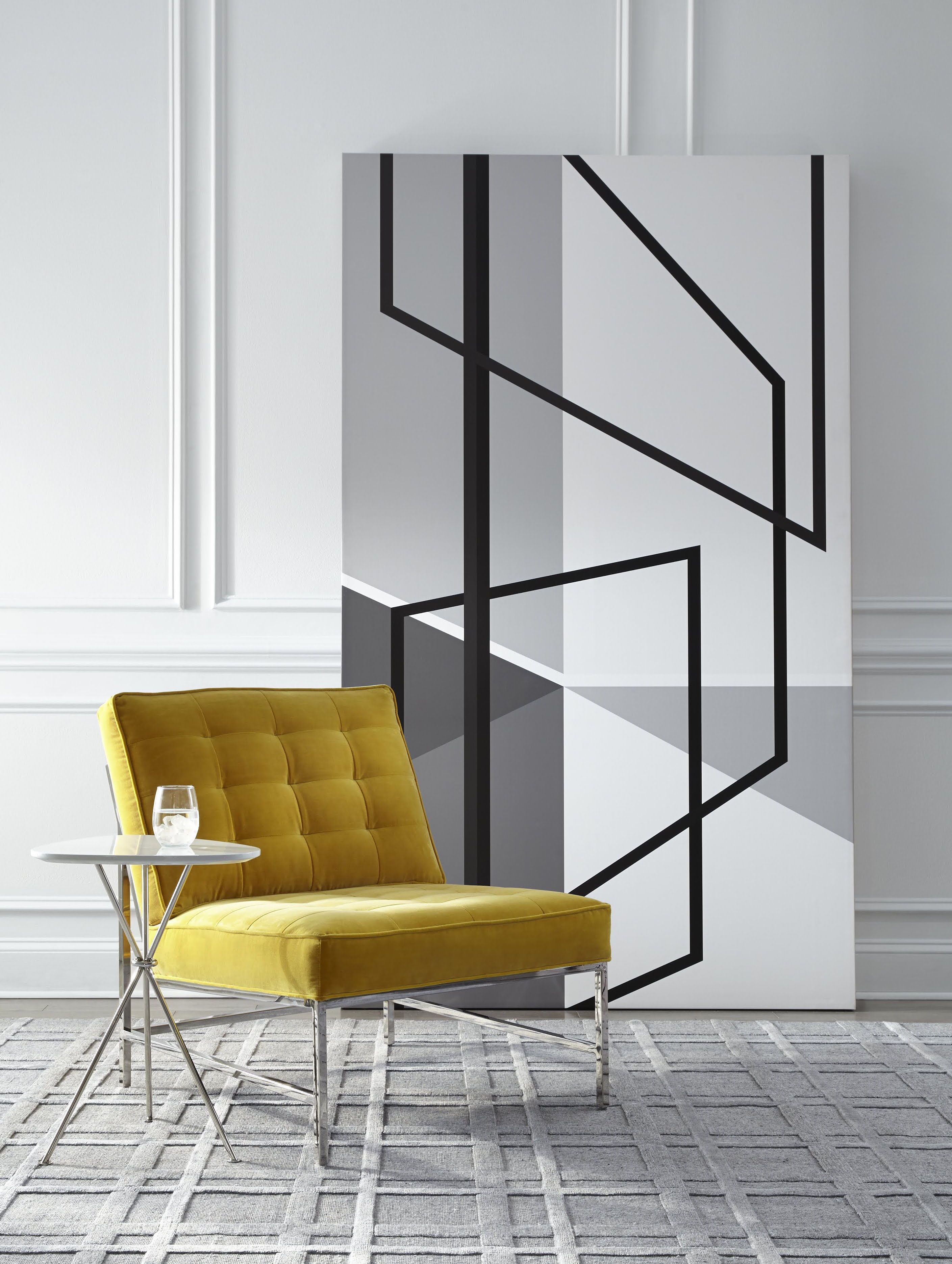 MG BW Geometric Perspective Wall Art Create a bold impact from