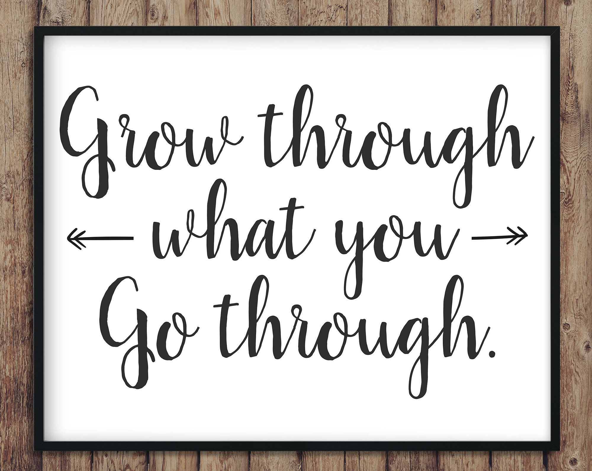 Grow through, motivational, sign, instant download, digital file, wall decoration, print, artwork, printable, decor, customizable, custom