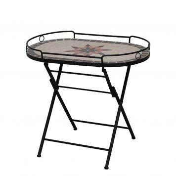 serviertisch stella - eisen/keramik - schwarz/mosaik | beton, Esszimmer dekoo