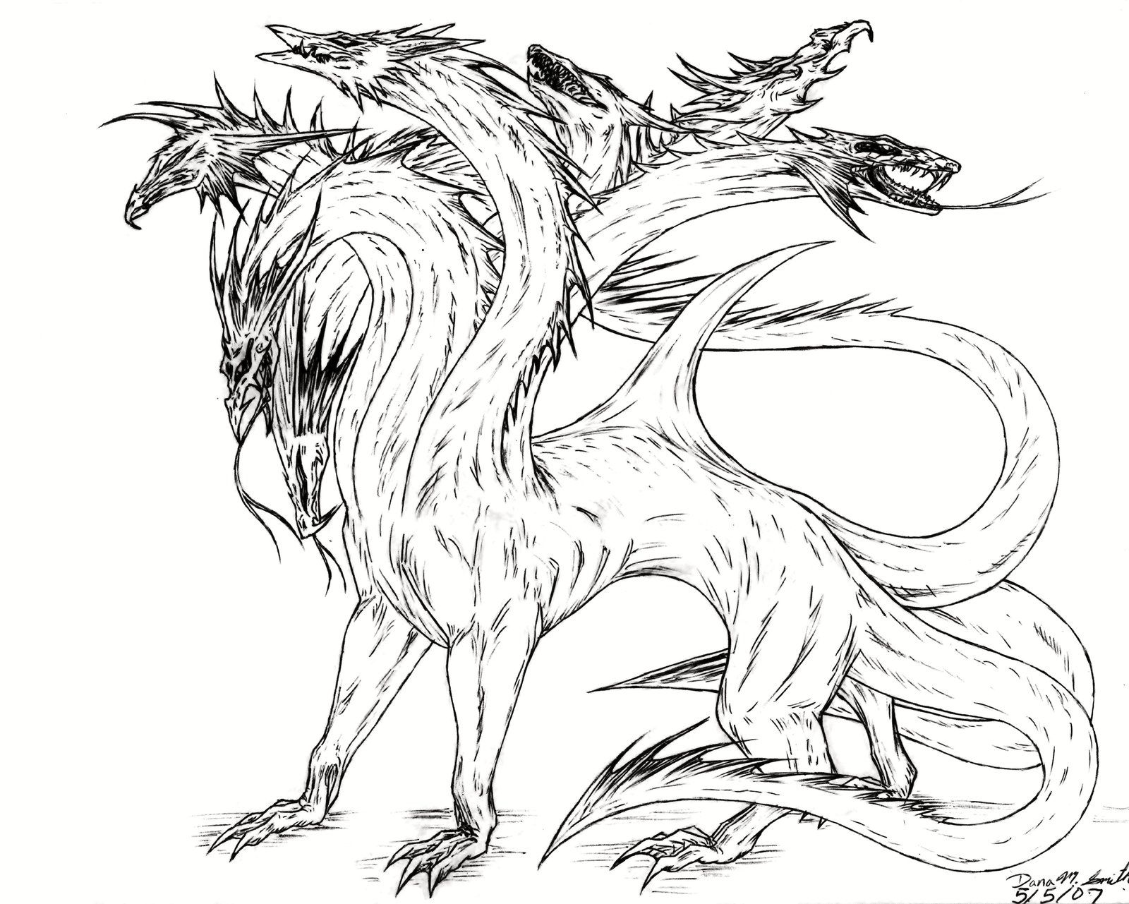 Hydra Dragon Coloring Pages dawing or color Pinterest