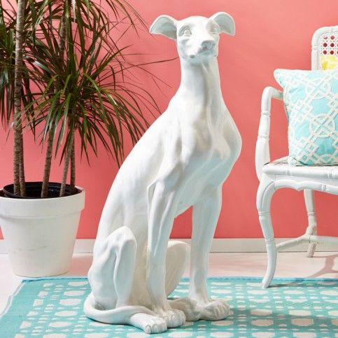 THE WELL APPOINTED HOUSE - Luxury Home Decor- Resin Greyhound Sculpture in White  from www.wellappointedhouse.com #homedecor #redecorate #decorativeaccessories #porcelainaccessories #decorativeceramics
