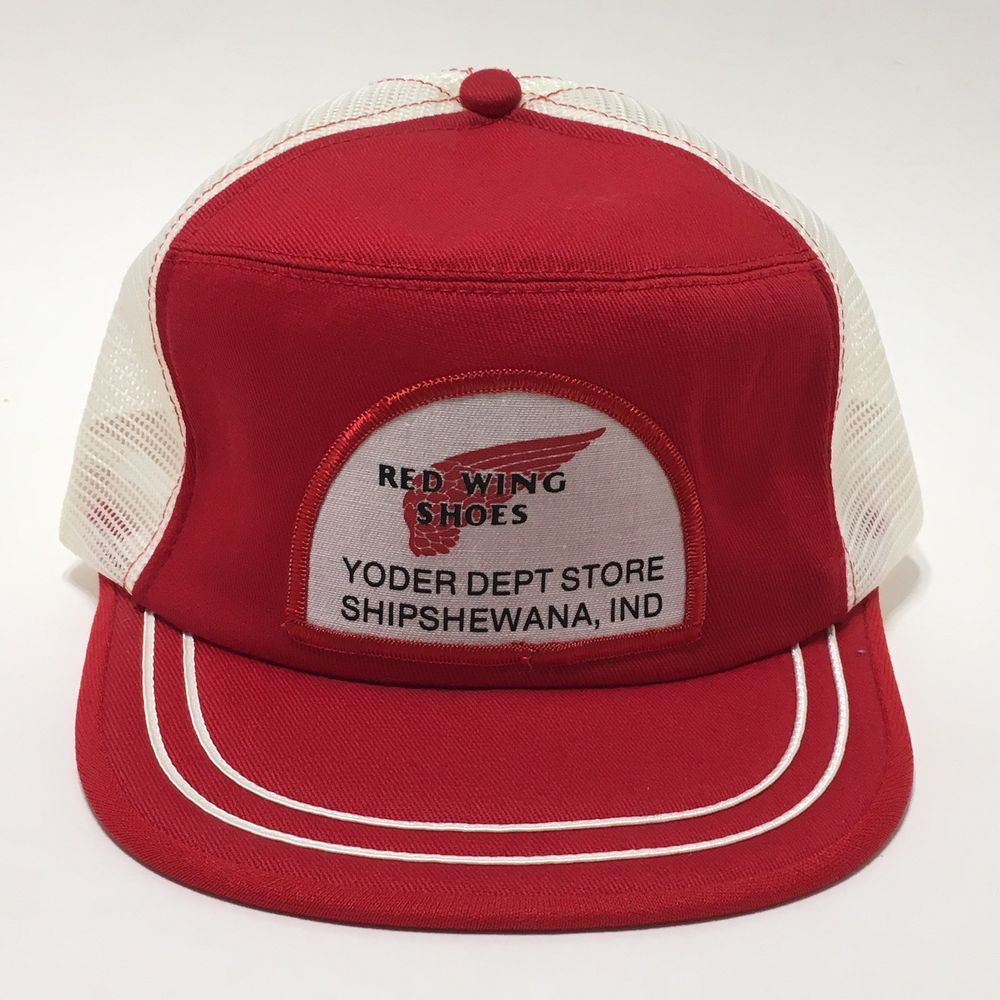 Vintage Red Wing Shoes Hat Cap Patch Mesh Foam Trucker Snapback Shipshewana Usa Ebay Red Wing Shoes Vintage Cap Vintage Shoes