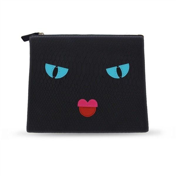 Iphoria Angry Face Cosmetic Bag ($87) ❤ liked on Polyvore featuring beauty products, beauty accessories, bags & cases, black, make up purse, makeup bag case, make up bag, makeup purse and cosmetic bags