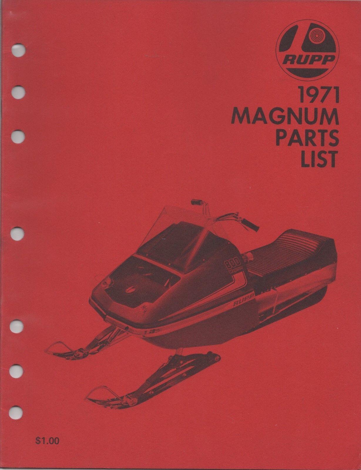 Manuals 26351: 1971 Rare Original Rupp Snowmobile Magnum Parts Manual (623)  ->