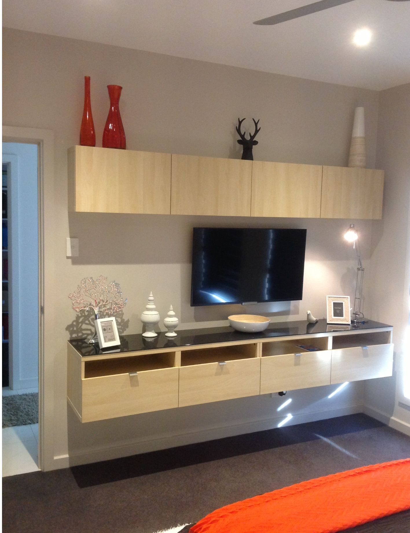 Pin By Cathy Elsmore Interiors On Home Decorating And Styling Projects I Ve Completed Ikea Floating Cabinet Floating Cabinets Master Bedroom