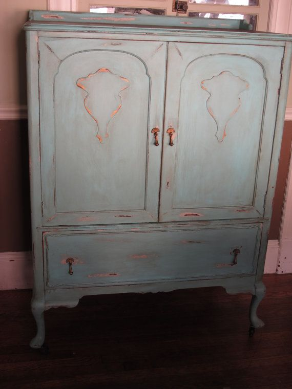 French Provincial Country Armoire Wardrobe Dresser Painted Furniture Chalk  Paint Farmhouse Bohemian Boho Chic Distressed Shabby